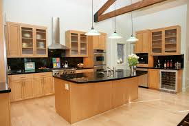 image of cool dark hardwood floors with maple cabinets