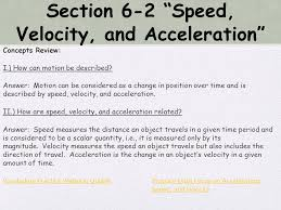 section 6 2 sd velocity and acceleration concepts review i