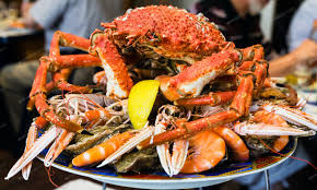 atlantic crab on seafood plate in local ...