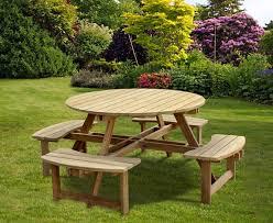 teak round picnic bench