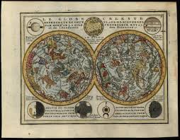 Details About Zodiac Constellation Celestial Chart Night Sky Map 1719 Chiquet Engraved Planets