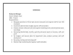 Restaurant Manager Duties For Resume Restaurant Manager Duties For