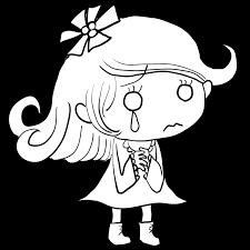 涙を流してしっとりと泣く外国人白人の女の子塗り絵かわいい