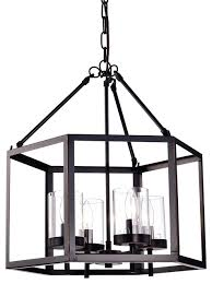 4 light oil rubbed bronze hexagon lantern cage chandelier transitional chandeliers by edvivi llc
