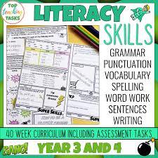 Grammar Punctuation Literacy Skills Activities Grammar Punctuation Spelling Vocabulary Year 3 And 4