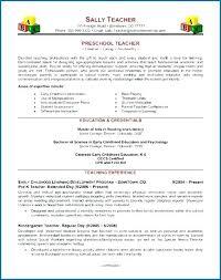 Preschool Teacher Resume Samples Resume Samples For Nursery Teachers Best Early Childhood Education Resume