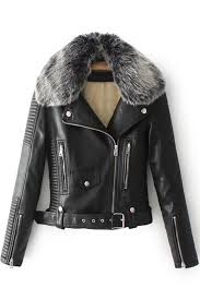 faux fur collar long sleeve offset zip closure cropped leather jacket takeluckhome com