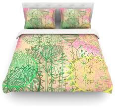 marianna tankelevich pink dream pink green duvet cover cotton queen eclectic