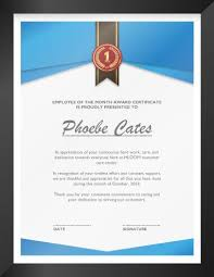Employee Of The Month Free Online 27 Printable Award Certificates Achievement Merit Honor