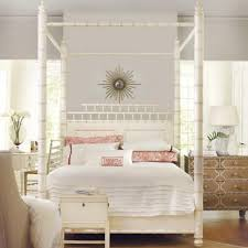 Bamboo Motif White Canopy Bed