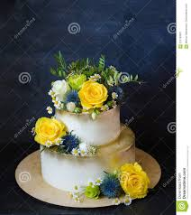 Two Layered Gilded Wedding Cake With Flowers Stock Image Image Of