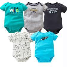 <b>5 PCS</b>/<b>LOT Baby</b> Bodysuits Cotton <b>Infant</b> Jumpsuit <b>Short Sleeve</b> ...