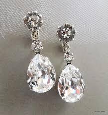 bridal earrings swarovski teardrop crystal earrings chandelier earrings clip on crystal earrings wedding statement bridal earrings willow
