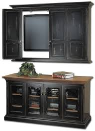 furniture shabby black wooden tv cabinet with doors and brown wooden top and black wooden