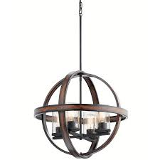 kichler barrington 21 25 in distressed black and wood art deco single seeded glass orb pendant