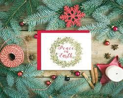 Christmas Cards Folding Cards Blank Note Cards Holidays Peace On Earth Wreath