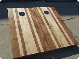 Wooden Corn Hole Game Stained Striped Hardwood Set with Bags Custom Cornhole LLC 50