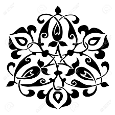 Ornamental Round Bloemsilhouet Patroon Cirkel Kant Bloem Geïsoleerd