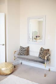 office leopard print. Southern Curls \u0026 Pearls Home Office Horchow Lucite And Gold Bench #homeoffice #homedecor Leopard Print