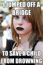 I jumped off a bridge to save a child from drowning - Well ... via Relatably.com