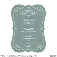 Wedding Program Scroll Vintage Scroll In Green Wedding Program Zazzle Com
