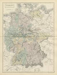 Germany Vintage Chart Germany Showing States By Sidney Hall 1856 Old Antique Vintage Map Plan Chart
