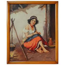 beautiful barefoot gypsy woman cooking vintage signed oil painting artnotch ruby lane