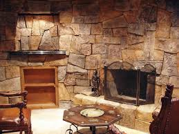 Mantel On Stone Fireplace Living Room Rustic Fieldstone Self Trimming Electric Fireplace