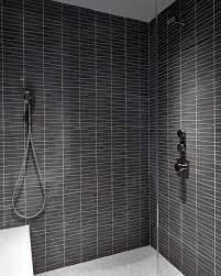 dark grey black bathroom tile showers