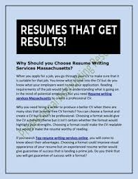 Why Should You Choose Resume Writing Services Massachusetts By Extraordinary Guaranteed Resume Writing Services