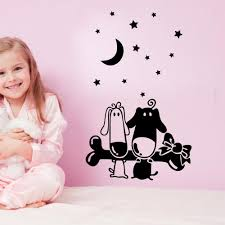 cartoon puppy bones wall art mural decal sticker little star moon wallpaper decoration poster home art decor kids boys girls room wall decal on little black girl wall art with cartoon puppy bones wall art mural decal sticker little star moon