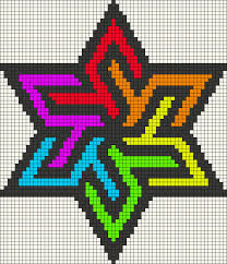 Minecraft Star Chart Rainbow Stained Glass Star Perler Bead Pattern Chart Graph