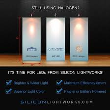 banner stand light comparison led vs halogen