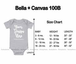 Bella Canvas 100b Baby Bodysuit Size Chart Newborn Infant Toddler Unisex One Piece