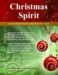 Christmas Program Templates Christmas Spirit Church Flyer Template Flyer Templates