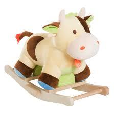 homcom kids children plush rocking cow animal horse adventure ride on toy handmade wooden rocker baby gift on on