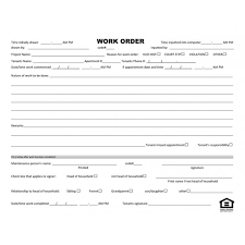 Maintenance Repair Form Work Order Form Standard Forms