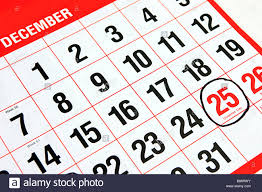 Calendar at the month of December with a black ring around the ...