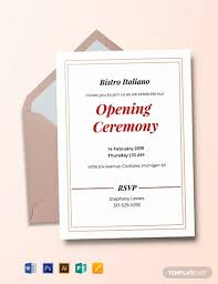 Free Opening Ceremony Invitation Card Template Download 637