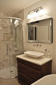 Bathroom:Amazing Guest Bathroom With Sterling Shower Door And Distressed  Wood Vanity Also Metallic Mirror