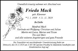 Anzeige für Frieda Mack