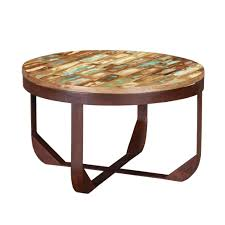 industrial round handcrafted reclaimed wood rustic coffee table