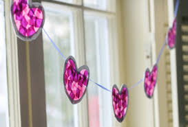 tissue paper heart garland