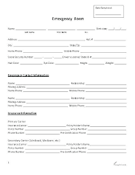 Employee Personal Details Form Template New Canada Information