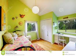 Kids Girls Bedroom Green Kids Girls Bedroomwith White Furniture Royalty Free Stock