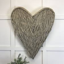 Large Wicker Heart With Lights Extra Large Wicker Wall Heart Natural