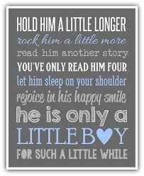 Little Boy Quotes Custom HOLD HIM A Little Longer Sign Print Canvas Custom Colors Boy Wall