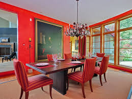 red dining room. bright red theme dining room