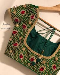 Bridal Blouse Designs Photos Beautiful Bottle Green Color Custom Made Bridal Blouse The