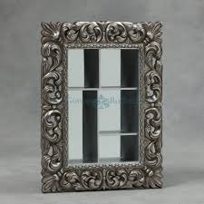 antique silver framed wall shelf box with mirror